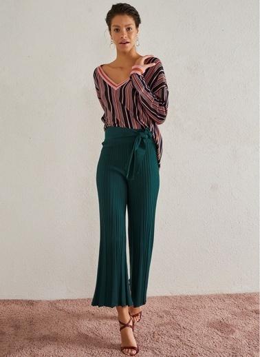 Monamoda Kuşaklı Triko Pantolon Yeşil